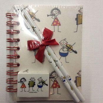 Set - Notitieboekje - Gom - 2 Potloden