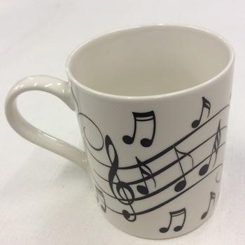 Mug met muzieknoten wit/zwart